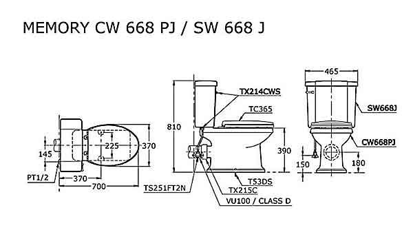 Bàn cầu 2 khối ToTo CW668J/SW668J/214TC393VS