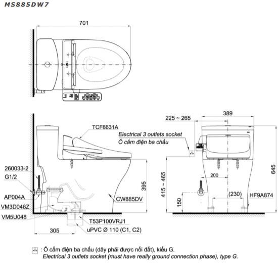Bàn cầu một khối kèm nắp rửa điện tử TOTO MS885DW7