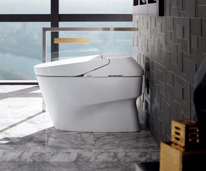 Bàn cầu một khối toto sang trọng, hiện đại trong nhà vệ sinh